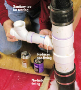 Connect another PVC Elbow and finally attach Vent Pipe